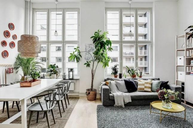 Design botanique dans un appartement suédois