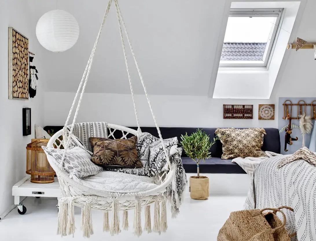 La décoration en style bohème chic et couleurs naturelles d'une maison danoise