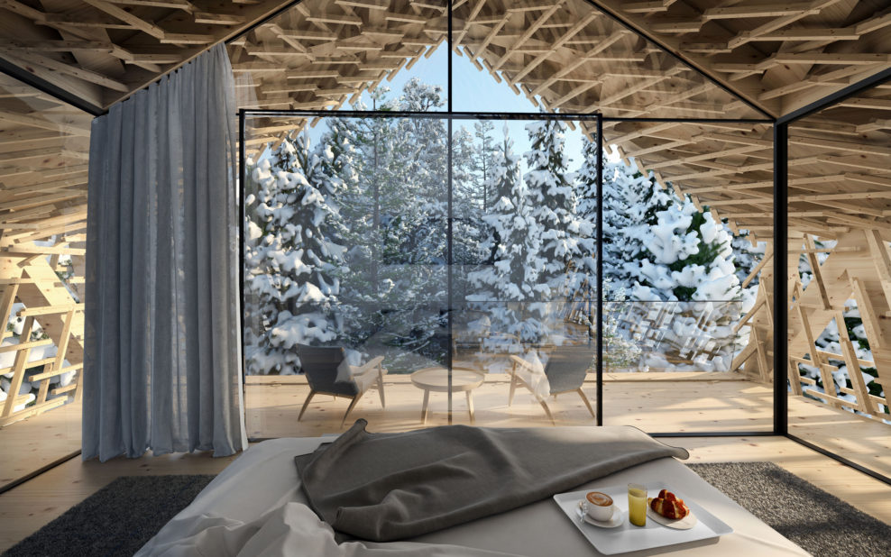 Une chambre à coucher vitrée dans les arbres pour un hiver hors du commun