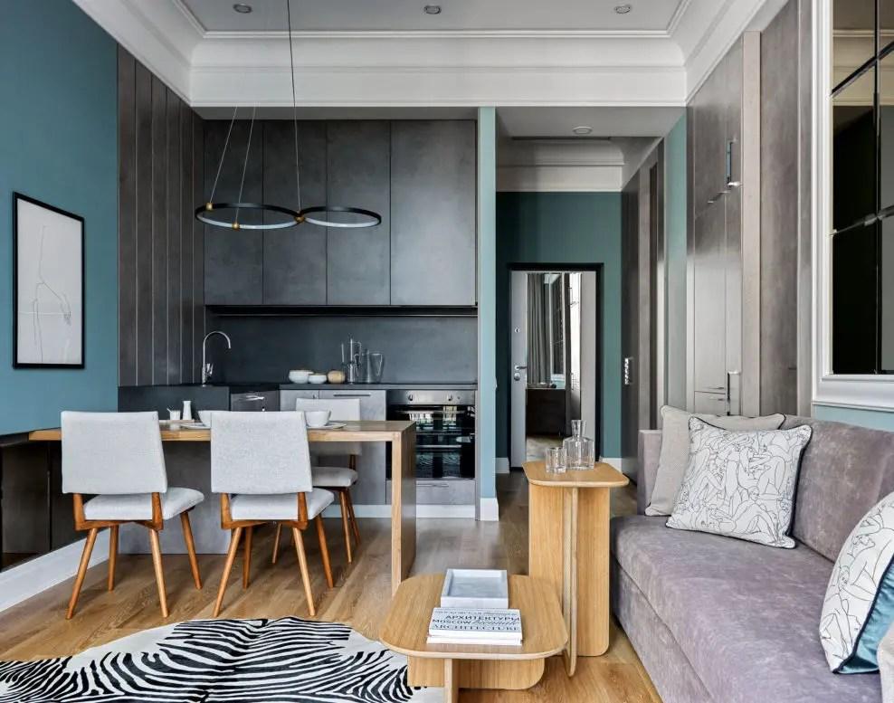 Cet appartement de deux-pièces de 41m2 aime les couleurs subtiles