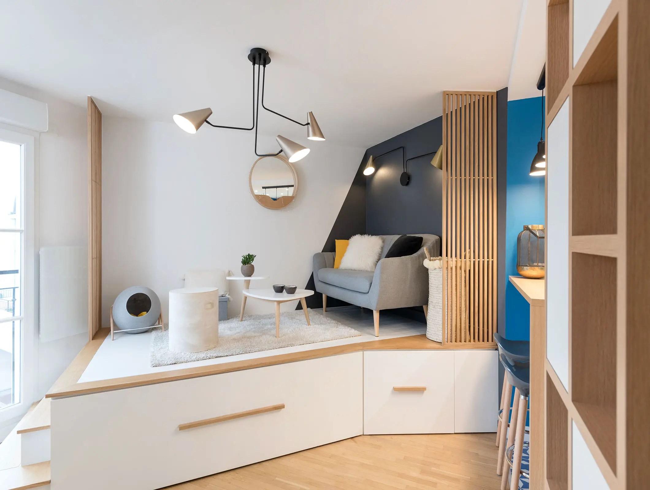 Ce studio de 11m11 près de Paris cache un lit astucieux - PLANETE