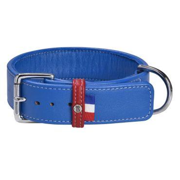 collier gustave bobby cuir bleu pour chien