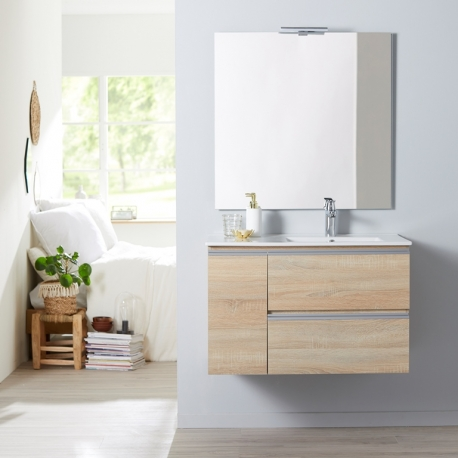 achat meuble de salle de bain chene avec miroir et eclairage 85 cm planetebain