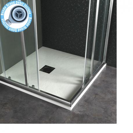 receveur extra plat a poser design reflet ardoise 90x90 blanc 523032