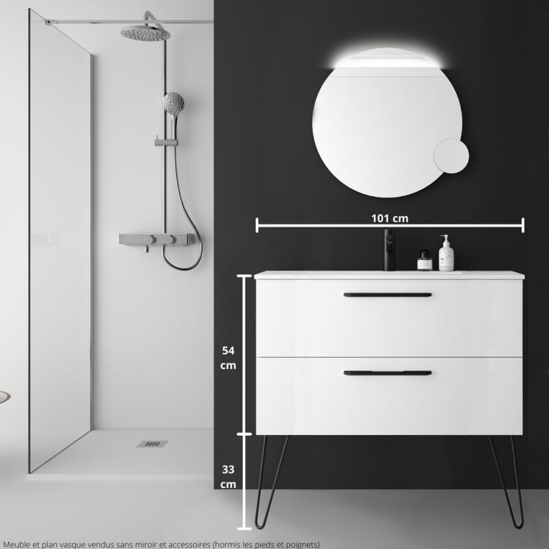 Meuble Salle De Bain 100 Cm Couleur Blanc Avec Poignets Et Pieds Noirs