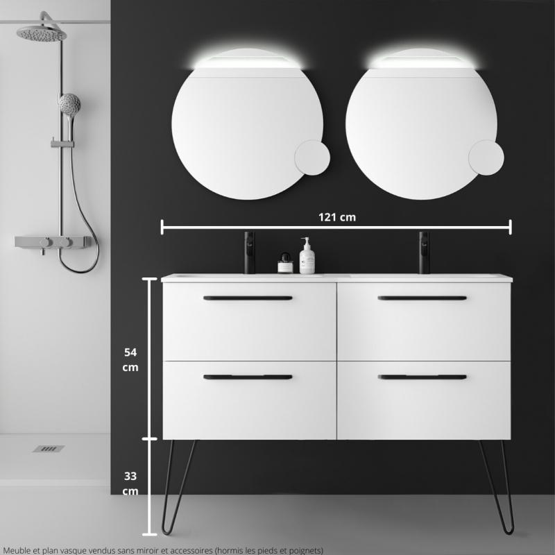 Meuble Salle De Bain 120 Cm Couleur Blanc A Suspendre Double Vasque