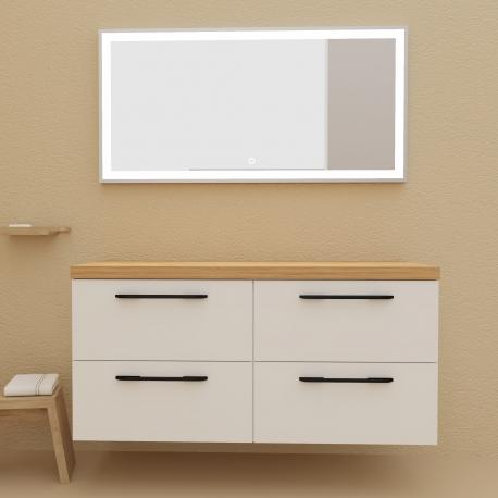 achat meuble de salle de bain a suspendre blanc noir 120 cm scandinave planetebain