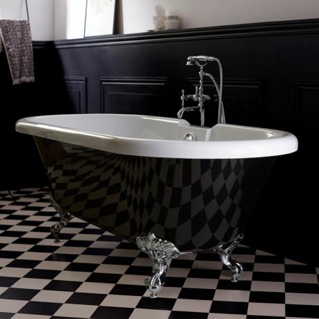 baignoire ilot charly retro haut de gamme noire et blanche baignoire sur pieds pattes d aigle chrome