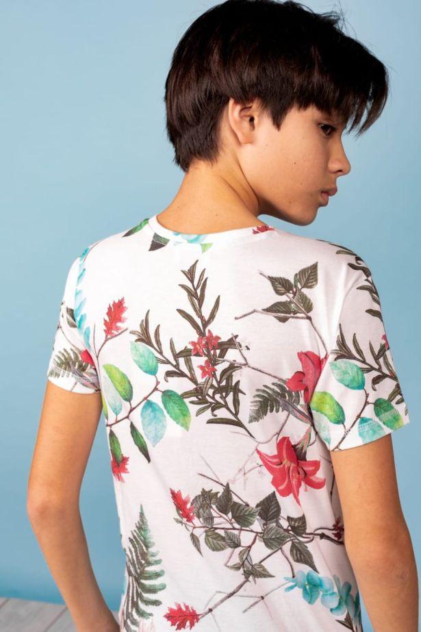 T-shirt blanc motif tropical garçon