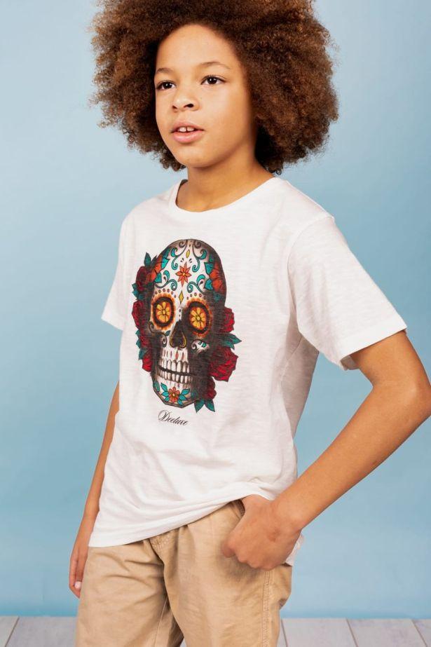 T-shirt motif tête de mort mexicaine