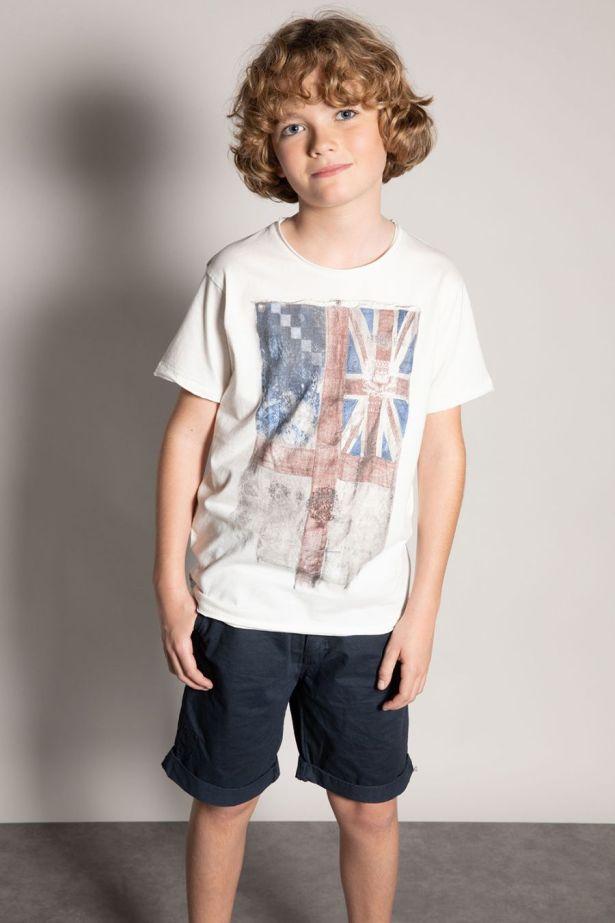 T-shirt blanc délavé garçon