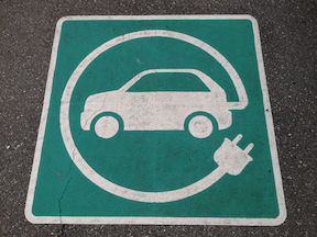 Electric vehicle symbol. (Photo via Creative Commons)