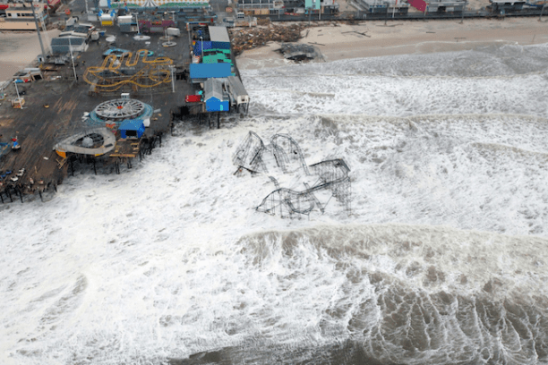 Hurricane Sandy floods Casino Pier in Seaside Heights in Ocean County, New Jersey. (Photo Credit: Creative Commons)