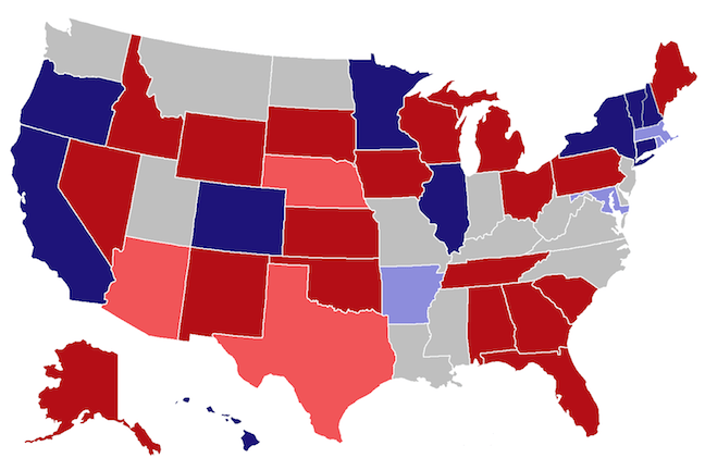 The colored states indicate the 38 contested gubernatorial seats in this election.