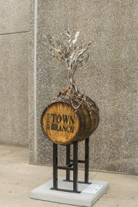 Bourbon barrel used for art