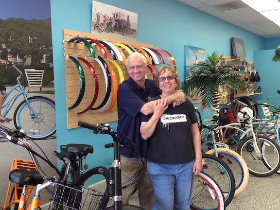 Beth and Brian, owners of Pedego Greater Long Beach (Image: Pierce Nahigyan)