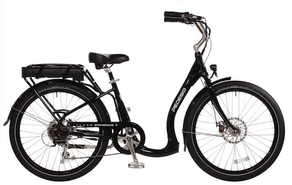"The Boomerang, Pedego's latest bike, is designed specifically for the ""Baby Boomer"" generation. Note the low ""step-thru"" curve in the middle, which prevents aging or overweight riders from having to swing their leg over the bike. (Source: Pedego)"