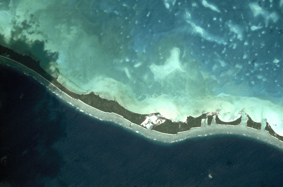 One island nation, Kiribati, is already predicted to be lost to sea level rise by the end of this century. Pictured: The Nonuti Atoll, a district of Kiribati. (Photo: Creative Commons)