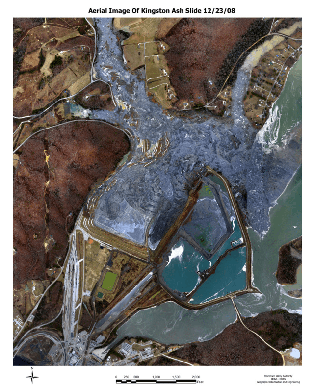 "A high-resolution aerial survey photograph of the coal ash spill at the Kingston, Tennessee power plant. The spill occurred in December 2008 when a dike holding the toxic waste ""failed."" (Image Source: Tennessee Valley Authority via SkyTruth)"