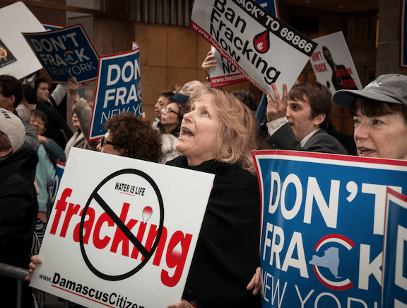 Anti-fracking demonstrators outside the office of New York Governor Andrew Cuomo, October 2012. (Source: Flickr)