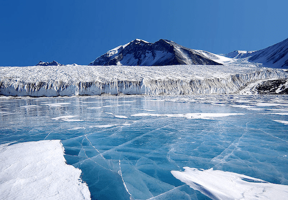 Lake Fryxell, in the Transantarctic Mountains. (Image Credit:  Joe Mastroianni, National Science Foundation)