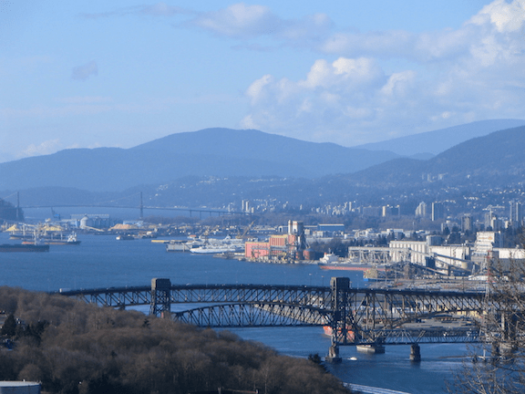 Burrard Inlet and the Second Narrows Ironworkers Memorial Bridge, looking west from Capitol Hill in Burnaby. (Image Credit: Creative Commons)