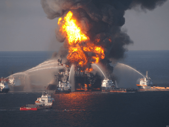 Vessels equipped with water cannons try to fight the Deepwater Horizon fire. (Image: USCG)