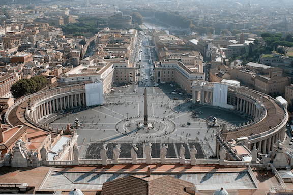 Saint Peter's square from the St. Peter's Basilica's dome in Vatican City. (Image Credit: Jean-Pol Grandmot