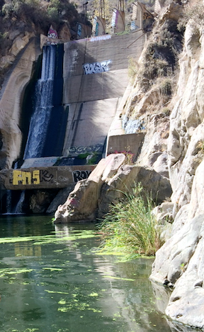 Rindge Dam, 5,000 cubic yards of concrete and steel, now operates as a waterfall rather than a reservoir. (Image Credit: Resource Conservation District of the Santa Monica Mountains)