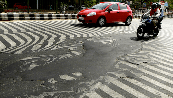 A zebra crossing near Delhi's Safdarjung Hospital during a May heatwave that claimed over 800 lives. Photograph taken on May 25, 2015. (Image Credit: Sanjeev Verma / Hindustan Times)