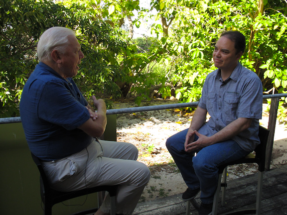 John Cook speaking to David Attenborough in one of the course's online videos.