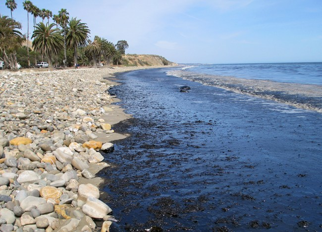 Oil on the beach at Refugio State Park in Santa Barbara, California, on May 19, 2015. (Image Credit: U.S. Coast Guard)