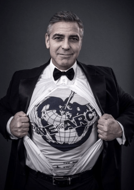 Promotional image showing George Clooney with a Save the Arctic t-shirt.(Photo Credit: Andy Gotts MBE)