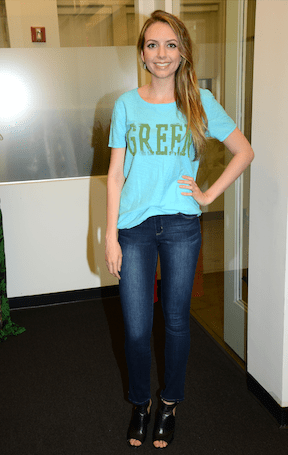 "Pop singer Olivia Somerlyn, pictured in the Zoe ""Green"" Tee - 100% GOTS Certified Organic Cotton. (Photo Credit: UTC)"