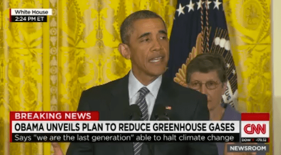 President Obama announces the Clean Power Plan on Monday afternoon. (Photo Credit: Screenshot of CNN footage)