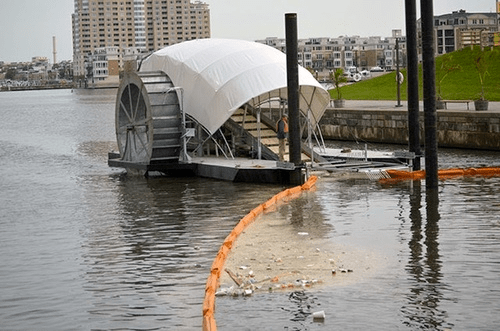 Downriver plastic waterwheel collection system in the US.