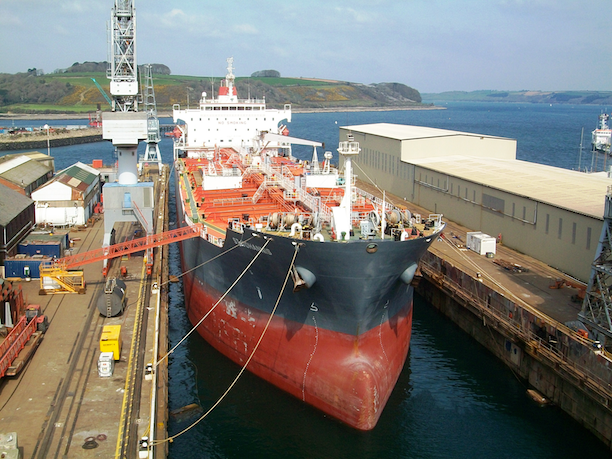 A Hong Kong oil tanker, the St. Johannis, in the dock at Falmouth in 2012. (Photo Credit: GeorgeAJMarshall)