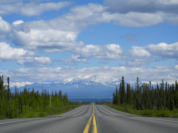 Approaching the Wrangell Mountains near Glennallen, Alaska.