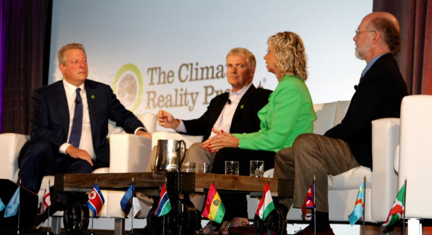 Dooley seated with Al Gore and other members of Climate Reality at the seminar this past week. (Photo: Juli Schultz)