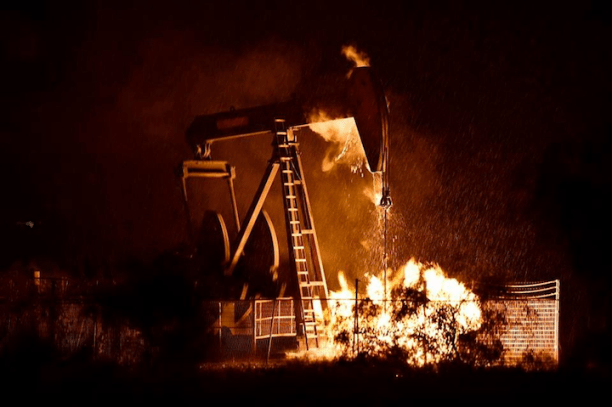 A gas well explosion in Denton, TX. (Photo: Frack Free Denton)