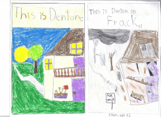 A child's rendering of the fracking near his home in Dec. 2013. (Photo: Frack Free Denton)