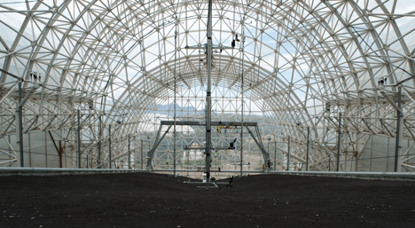 Beneath the glass enclosure of Biosphere 2, LEO's basalt soil slopes bristle with 1800 sensors, which monitor water, carbon, and energy cycling as the environmental conditions change. (Photo Credit: Emma Reed)