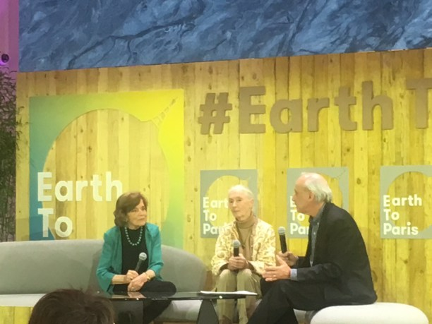 Drs. Sylvia Earle (left) and Jane Goodall (center) speaking at Earth to Paris. (Photo Credit: Nicole Landers)