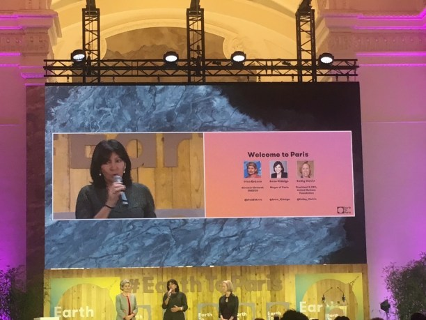 Mayor Anne Hidalgo speaking at Earth to Paris. (Photo Credit: Nicole Landers)
