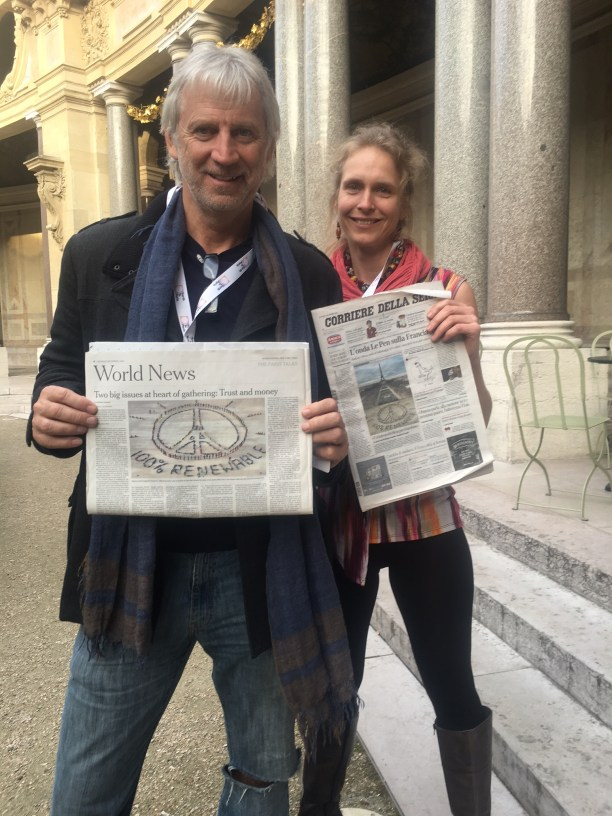 John Quigley (left) and Magalie Bonneau (right) at Earth to Paris. (Photo Credit: Nicole Landers)