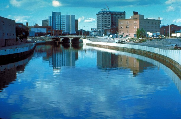 The Flint River in Flint, Michigan, c. 1970s. (Photo Credit: U.S. Army Corps of Engineers)