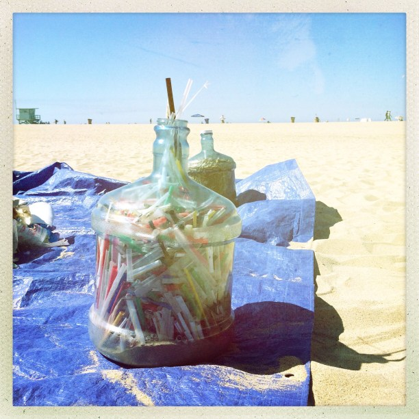 Single-use plastic straws, Surfrider Foundation's Coastal Clean-up Day site, Santa Monica Beach, 2015. (Photo Credit: B. Waymouth)