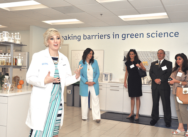 Jenna Arkin Product Development Director Giving Tour of Green Lab. (Photo Credit: EFP)