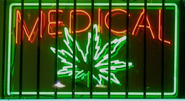 Neon sign from a medical marijuana dispensary on Ventura Boulevard in Los Angeles, California. (Photo Credit: Laurie Avocado)