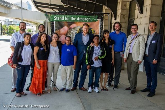 Leaders from the Amazon's Tapajós and Xingu regions call on GE to divest from dams. (Photo credit: Fran Ruchalski / Greenpeace via Amazon Watch)